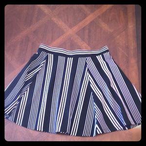 Navy/White striped Skater skirt size Medium